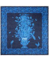Valentino Garavani Valentino Garavani Flower Print Cashmere And Silk Shawl 140x140 Cm / 55.1x55.1 In. - Blue
