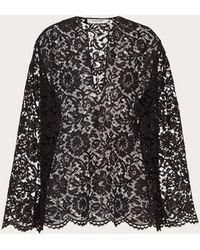 Valentino Top Kaftano In Heavy Lace - Nero