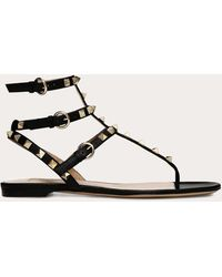 Valentino Garavani Valentino Garavani Rockstud Calfskin Flat Flip-flop Sandal - Black