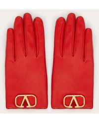 Valentino Garavani Valentino Garavani Vlogo Gloves Women Rouge Pur 100% Leather 6 - Red