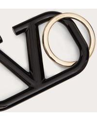 Valentino Garavani Valentino Garavani Vlogo Signature Keychain In Lacquered Metal - Black
