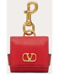 Valentino Garavani Vlogo Signature Grainy Calfskin Earphone Case - Red