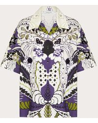 Valentino - Printed And Embroidered Poplin Bowling Shirt - Lyst