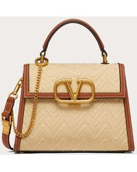 Valentino Garavani Small Vsling Handbag In Raffia With Chevron Pattern - Natural