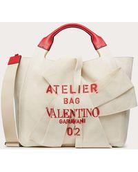 Valentino Garavani Shopper Atelier Bag 02 Bow Edition Aus Canvas - Mehrfarbig
