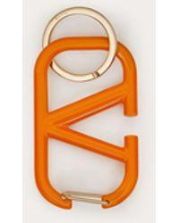 Valentino Garavani Valentino Garavani Vlogo Signature Keychain In Lacquered Metal - Orange
