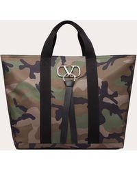 Valentino Valentino Garavani Cabas Vring Camouflage Grand Format En Nylon - Multicolore