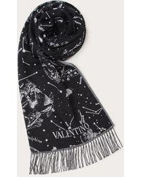 Valentino Garavani Valentino Garavani Zodiac Map Wool Stole - Black