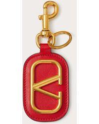 Valentino Garavani Vlogo Signature Calfskin Keychain - Red