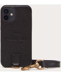 Valentino Garavani Cover Per I-phone 12 Mini Identity Nero 100% Pelle Di Vitello - Bos Taurus OneSize