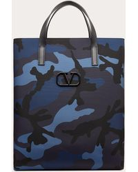 Valentino Garavani Bolso Shopper Camouflage De Nailon - Azul