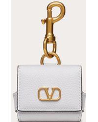 Valentino Garavani Valentino Garavani Vlogo Signature Grainy Calfskin Earphone Case - White