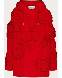 Valentino Anorak En Micro Faille Rose Blossom - Rouge