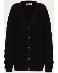 Valentino Cárdigan De Wool Angora Polyamide - Negro