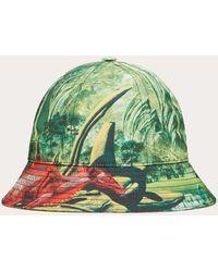 Valentino Garavani Valentino Garavani Bucket Hat Aus Nylon Mit Red Dragon-print - Grün