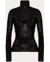 Valentino Embroidered Stretch Tulle Top - Black