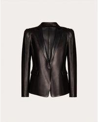 Valentino Leather Blazer - Black