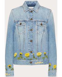 Valentino Embroidered Light Denim Jacket - Blue
