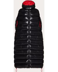 Valentino Duvet Couture Long Padded Cape - Black