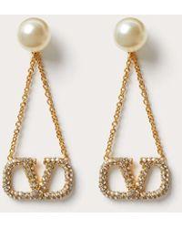 Valentino Garavani Vlogo Signature Earrings With Pearls And Rhinestones - Metallic