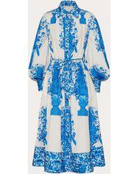 Valentino Bedrucktes kleid aus popeline - Blau