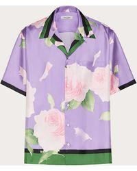 Valentino フライングフラワーズ プリント ボウリングシャツ - パープル