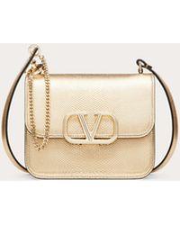Valentino Garavani Small Vsling Metallic Snakeskin Shoulder Bag