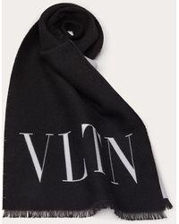 Valentino Garavani Valentino Garavani Vltn ウール X シルク スカーフ - ブラック