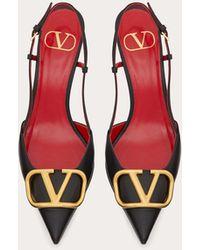 Valentino Garavani Valentino garavani slingback-pumps vlogo signature aus kalbsleder mit 40 mm-absatz - Schwarz