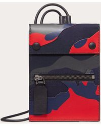 Valentino Garavani Camouflage Phone Case With Neck Strap - Blue