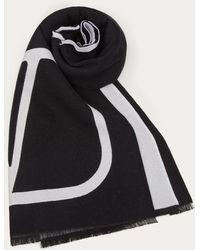 Valentino Garavani Valentino Garavani Vlogo Signature Wool And Silk Stole - Black