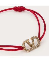 Valentino Garavani Armband Vlogo Signature Aus Baumwolle Mit Kristallen - Rot