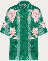 Valentino Chemise Bowling En Maille Au Crochet - Vert