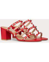 Valentino Garavani Valentino garavani sandalias de pala rockstud de becerro 60 mm - Rojo