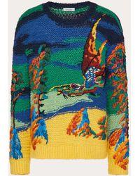Valentino Dragon Dawn Silk-knit Sweater - Blue