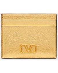 Valentino Garavani Valentino Garavani Vlogo Signature Metallic Grainy Calfskin Cardholder