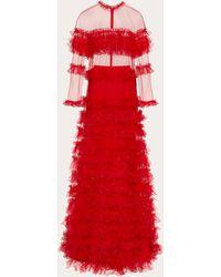 Valentino Vestido De Noche De Tul Con Volantes - Rojo