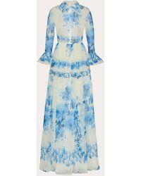 Valentino Printed Organza Evening Dress - Blue