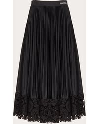 Valentino Jersey And Heavy Lace Pleated Skirt - Black