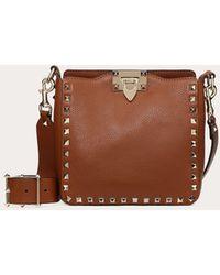 Valentino Mini Rockstud Leather Hobo Bag - Brown