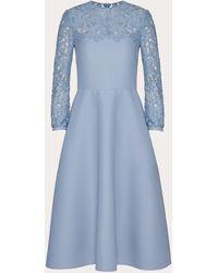 Valentino Abito In Crepe Couture E Heavy Lace - Blu