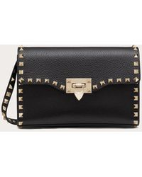 Valentino Garavani Rockstud Crossbody Bag Small Leather Black