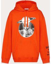 Valentino Soul Planets Hooded Sweatshirt - Orange