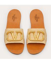 Valentino Garavani Raffia Slide Sandal With Vlogo Detail - Multicolor