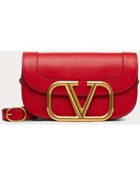Valentino Sac À Bandoulière Supervee En Veau - Rouge