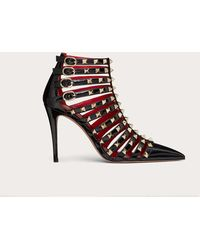 Valentino Garavani Valentino Garavani Rockstud Alcove Patent-leather Boot 100 Mm - Black