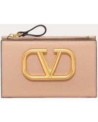 Valentino Garavani Valentino Garavani Vlogo Signature Calfskin Cardholder - Pink