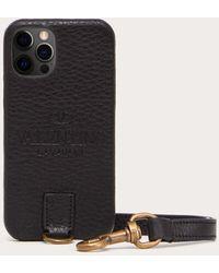 Valentino Garavani Cover Per I-phone 12/12 Pro Identity Nero 100% Pelle Di Vitello - Bos Taurus OneSize