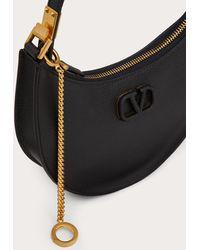 Valentino Garavani Mini Vlogo Signature Grainy Calfskin Hobo Bag - Black