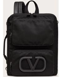 Valentino Garavani Vロゴ シグネチャー アーバン ナイロン バックパック - ブラック